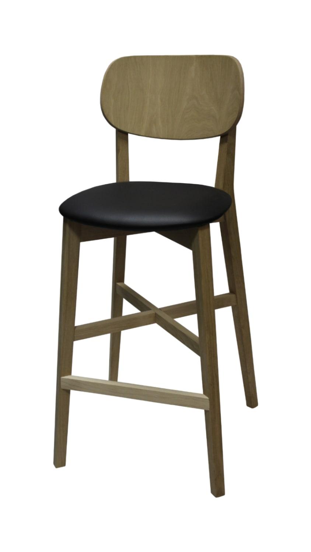 Solid Wood bar stool made of Beech or Oak - 1306B