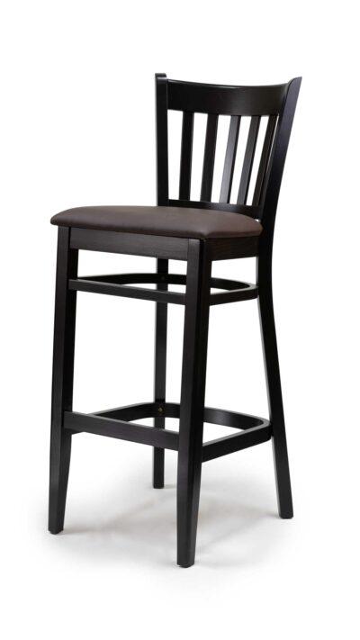 Черен бар стол от масив бук с изкуствена кожа - 1304B
