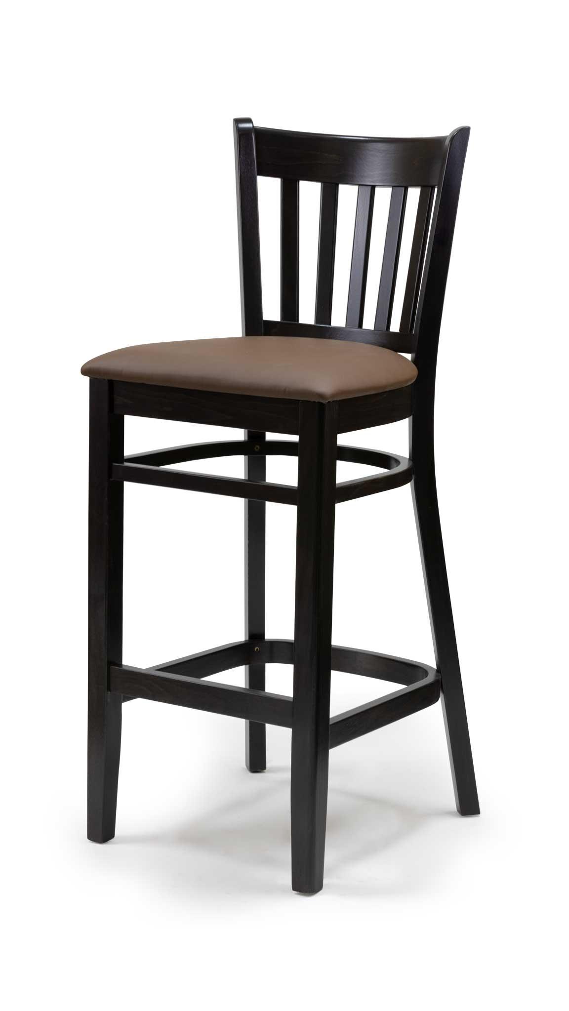 Черен бар стол от масив бук с изкуствена светла кожа - 1304B